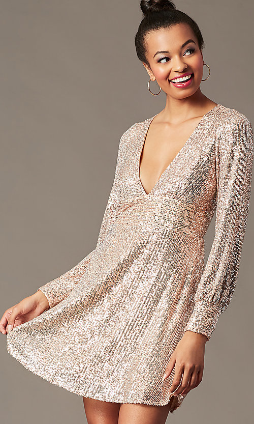 Image of short sequin holiday party dress in blush pink. Style: EM-HOI-4293-690 Detail Image 1