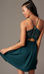 Image of short holiday party dress in spruce green. Style: EM-HNW-4285-387 Back Image