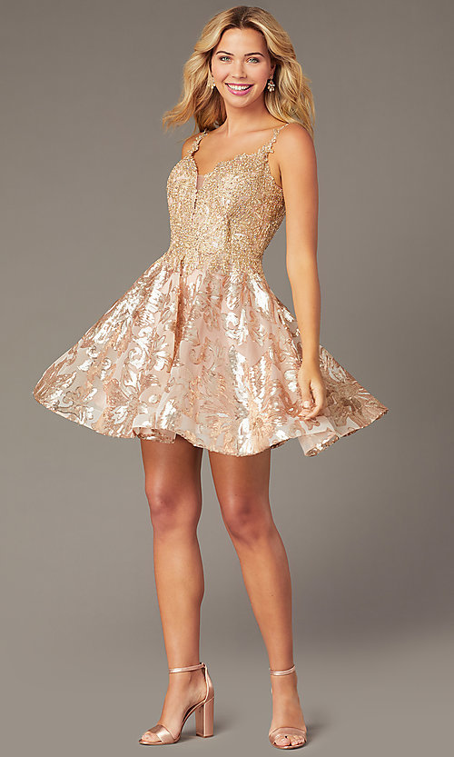 Image of short embroidered sequin hoco dress by PromGirl. Style: DJ-PL-A9102 Detail Image 1
