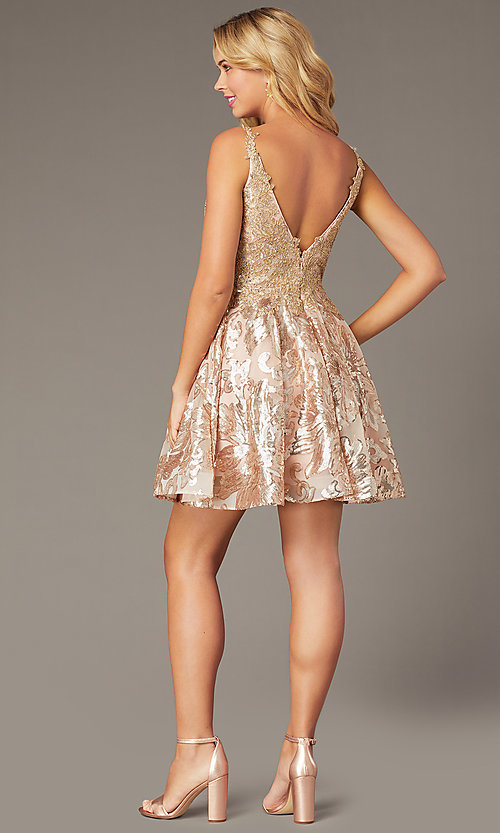 Image of short embroidered sequin hoco dress by PromGirl. Style: DJ-PL-A9102 Back Image