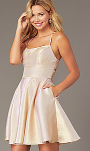 Image of iridescent short a-line hoco dress by PromGirl. Style: DJ-PL-A8992 Back Image