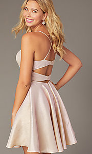 Image of iridescent short a-line hoco dress by PromGirl. Style: DJ-PL-A8992 Front Image