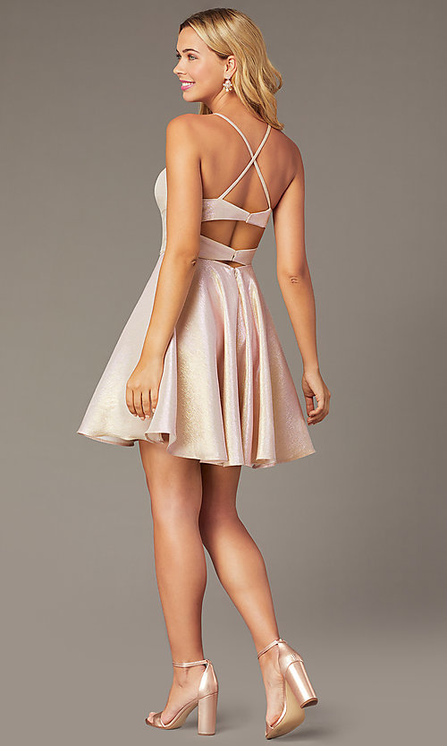 Image of iridescent short a-line hoco dress by PromGirl. Style: DJ-PL-A8992 Detail Image 2