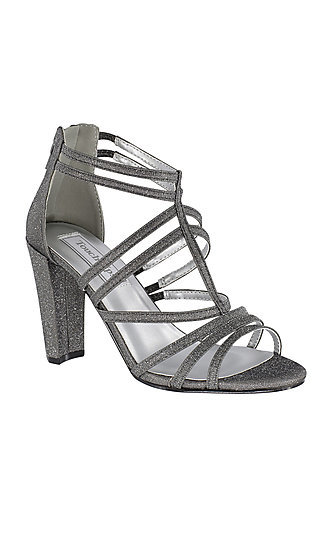 Rhyan Pewter Silver Sandal with a High Block Heel