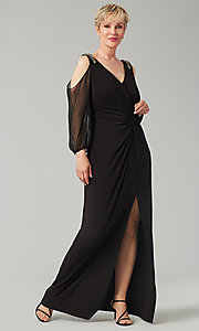 Image of black long mother-of-the-bride dress with sleeves. Style: AX-81351488 Front Image