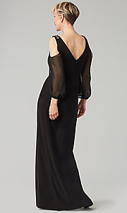 Image of black long mother-of-the-bride dress with sleeves. Style: AX-81351488 Back Image