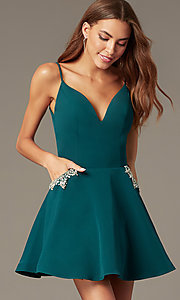 Image of short satin homecoming dress with accented pockets. Style: NC-259 Detail Image 2