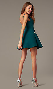 Image of short satin homecoming dress with accented pockets. Style: NC-259 Detail Image 3