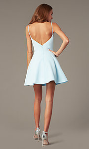 Image of short satin homecoming dress with accented pockets. Style: NC-259 Back Image