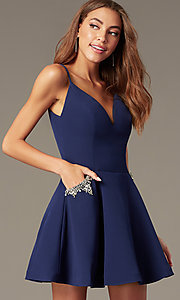 Image of short satin homecoming dress with accented pockets. Style: NC-259 Detail Image 4