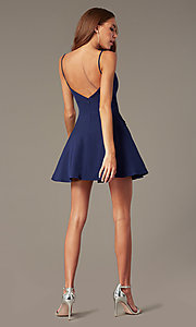 Image of short satin homecoming dress with accented pockets. Style: NC-259 Detail Image 5