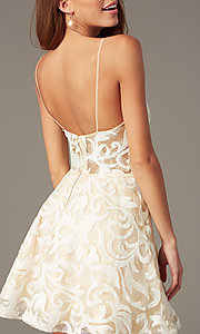 Image of short embroidered ivory babydoll homecoming dress. Style: NC-265 Back Image