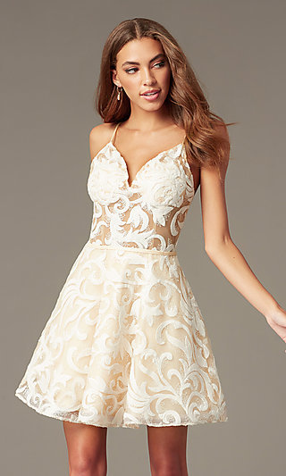 Short Embroidered Ivory Babydoll Homecoming Dress