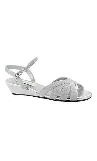 Emma Silver Sandal with a Wedge Heel