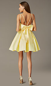 Image of short yellow homecoming dress with detachable bow. Style: JT-827 Back Image