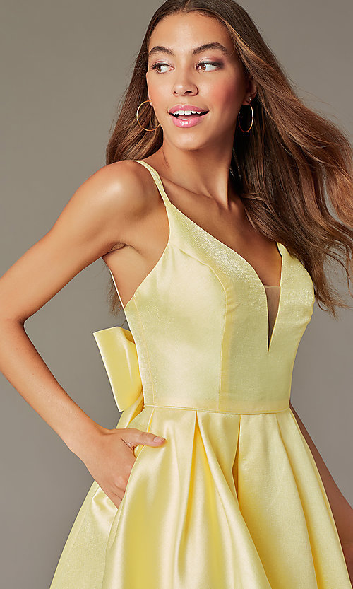 Image of short yellow homecoming dress with detachable bow. Style: JT-827 Detail Image 1