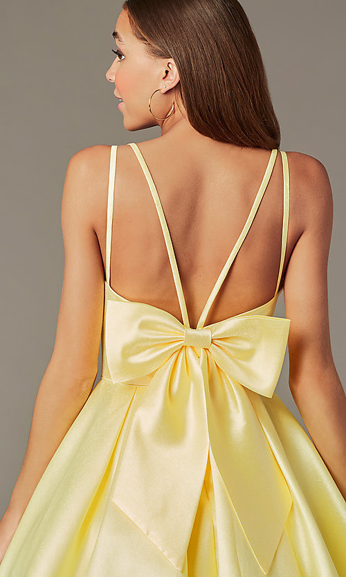 Image of short yellow homecoming dress with detachable bow. Style: JT-827 Detail Image 2