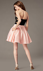 Image of pink and black strapless a-line homecoming dress. Style: JT-829 Back Image
