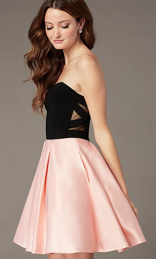 Image of pink and black strapless a-line homecoming dress. Style: JT-829 Front Image