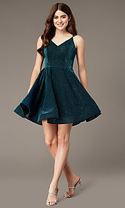 Image of glitter-knit peacock blue short homecoming dress. Style: JT-832 Front Image