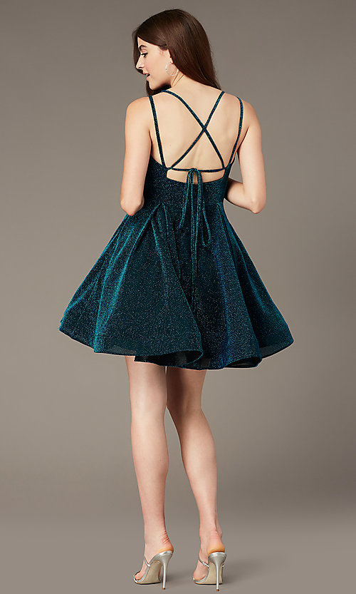 Image of glitter-knit peacock blue short homecoming dress. Style: JT-832 Back Image