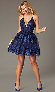 Image of tone-on-tone embroidered short hoco dress in navy. Style: LP-25779S Front Image