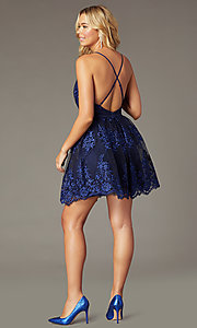 Image of tone-on-tone embroidered short hoco dress in navy. Style: LP-25779S Back Image