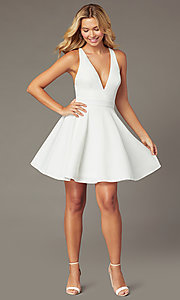 Image of short a-line fit-and-flare v-neck party dress. Style: LP-26429 Detail Image 2