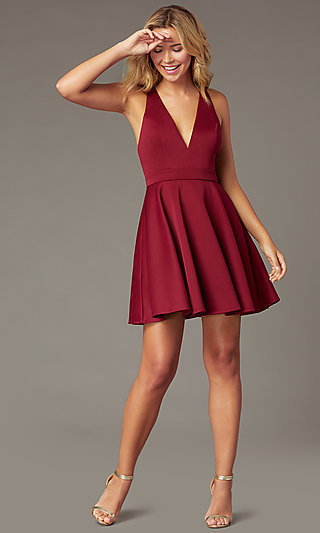 Short A-Line Fit-and-Flare V-Neck Party Dress