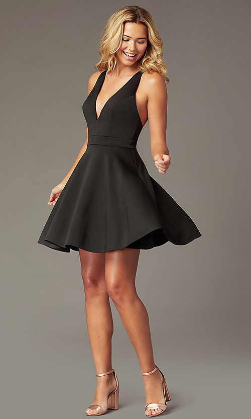 Image of short a-line fit-and-flare v-neck party dress. Style: LP-26429 Detail Image 5