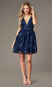 Image of short v-neck homecoming dress with ribbon applique. Style: LP-26506 Detail Image 5