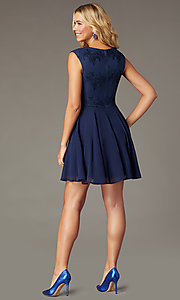Image of scalloped v-neck short hoco dress with embroidery. Style: LP-27826 Back Image