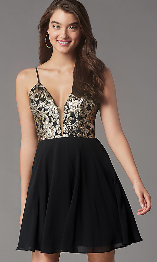 Image of sequin-bodice short v-neck hoco dress by PromGirl. Style: LP-PL-26555 Front Image