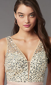 Image of short sequin-bodice v-neck hoco dress by PromGirl. Style: LP-PL-25772S Detail Image 5