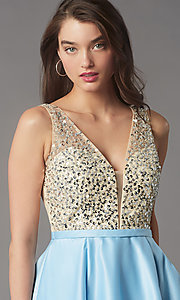 Image of short sequin-bodice v-neck hoco dress by PromGirl. Style: LP-PL-25772S Detail Image 2