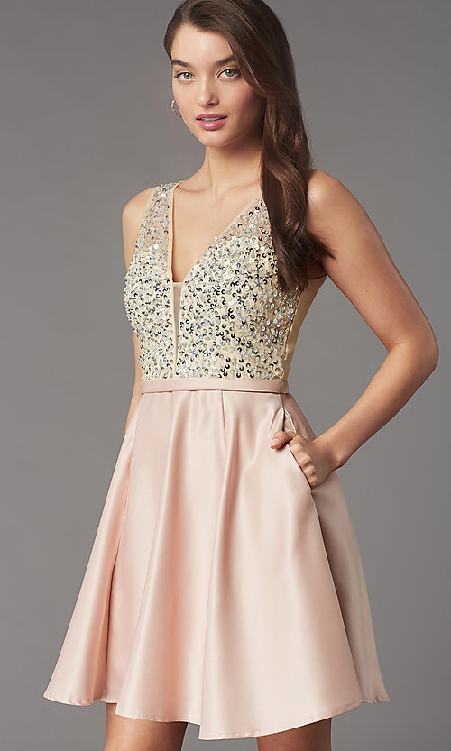 Image of short sequin-bodice v-neck hoco dress by PromGirl. Style: LP-PL-25772S Detail Image 6