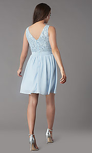 Image of sequin-lace-bodice short hoco dress by PromGirl. Style: LP-PL-24017-1S Back Image