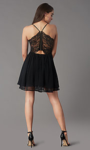Image of short lace-back homecoming party dress by PromGirl. Style: LP-PL-MG26467 Back Image