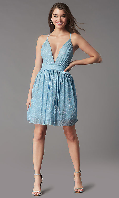 Image of metallic short v-neck homecoming dress by PromGirl. Style: LP-PL-MG20129 Detail Image 1