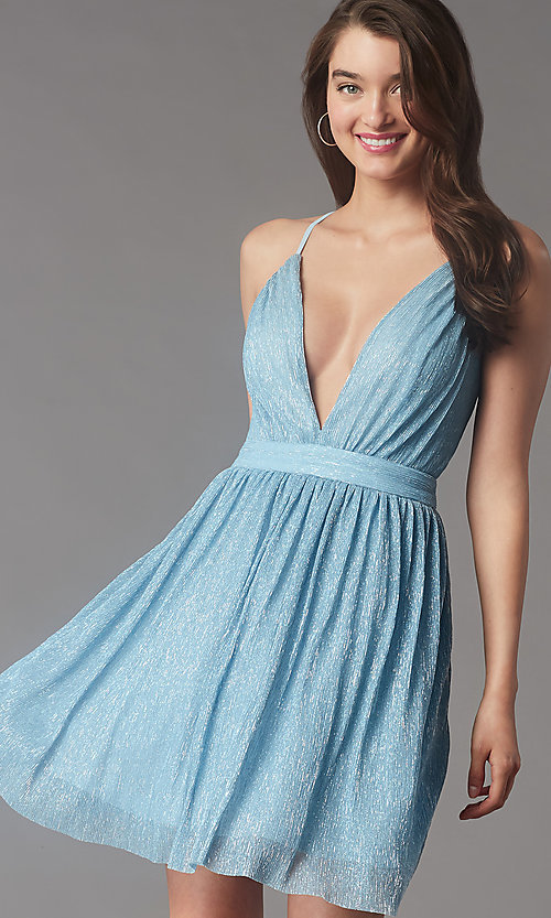 Image of metallic short v-neck homecoming dress by PromGirl. Style: LP-PL-MG20129 Front Image