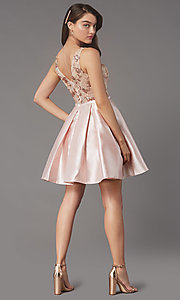 Image of pleated-skirt short hoco party dress by PromGirl. Style: LP-PL-26330 Back Image