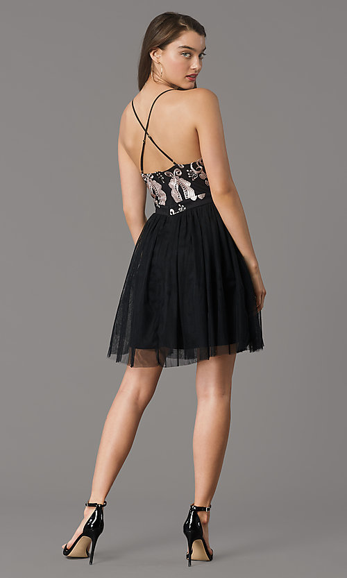 Image of embroidered v-neck short hoco dress by PromGirl. Style: LP-PL-MG20089S Back Image