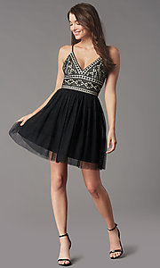Image of lace-bodice short homecoming dress by PromGirl. Style: LP-PL-MG27892S Front Image