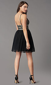 Image of lace-bodice short homecoming dress by PromGirl. Style: LP-PL-MG27892S Back Image