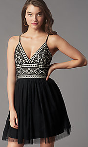 Image of lace-bodice short homecoming dress by PromGirl. Style: LP-PL-MG27892S Detail Image 1