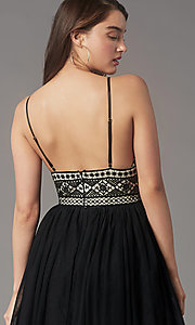 Image of lace-bodice short homecoming dress by PromGirl. Style: LP-PL-MG27892S Detail Image 2