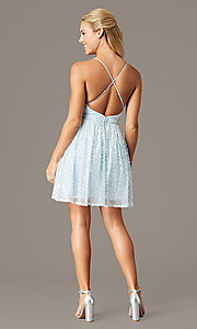 Image of short sequin hoco party dress by PromGirl. Style: LP-PL-26486 Back Image