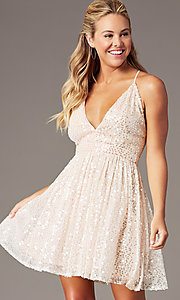 Image of short sequin hoco party dress by PromGirl. Style: LP-PL-26486 Detail Image 2