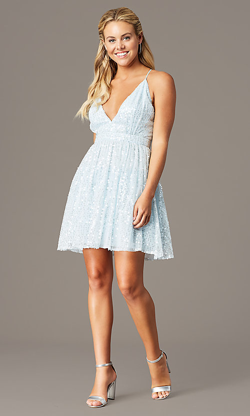 Image of short sequin hoco party dress by PromGirl. Style: LP-PL-26486 Detail Image 1