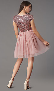 Image of sequin-bodice short homecoming dress by PromGirl. Style: LP-PL-26547 Detail Image 4
